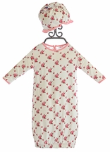KicKee Pants Infant Girls Gown and Hat with Roses