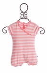KicKee Pants Infant Girls Romper in Pink Stripes (Size 6/12Mos)