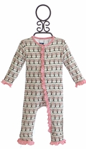 KicKee Pants Infant Girls Romper with Cherry Tree Print (Size 3-6Mos)