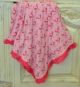 Kickee Pants Large Ruffled Baby Blanket Pink Birdy