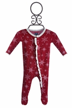 Kickee Pants Red Footie for Baby Snowflake (Size Newborn)