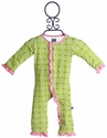 KicKee Pants Romper for Girls in Green Meadow Flower Lattice