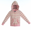 KicKee Pants Ruffle Hoodie for Baby Girls in Pink Stripes