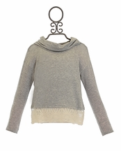 Kiddo Gray Cowl Neck Sweater with Lace Hem (Size MD 10)