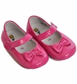 Kone Shoes Fuchsia Leather Bow Shoes for Infants