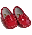 Kone Shoes Infant Leather Moccasin Flats in Red