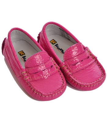 Kone Shoes Infant Leather Moccasin Fuchsia Pink