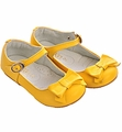 Kone Shoes Little Girls Yellow Shoes with Bow