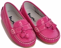 Kone Shoes Patent Leather Heart Moccasins in Candy Pink