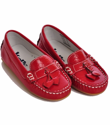 Kone Shoes Patent Leather Heart Moccasins in Red