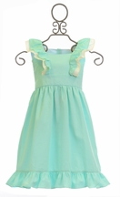 Krewe Linen Dress for Girls in Mint