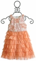 La Piccola Danza Sequined Coral Ruffle Girls Dress