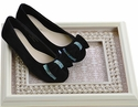Laura Ashley Shoes Black Suede Flats Studded Bow