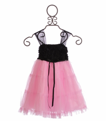Le Pink Black and Pink Flower TuTu Dress