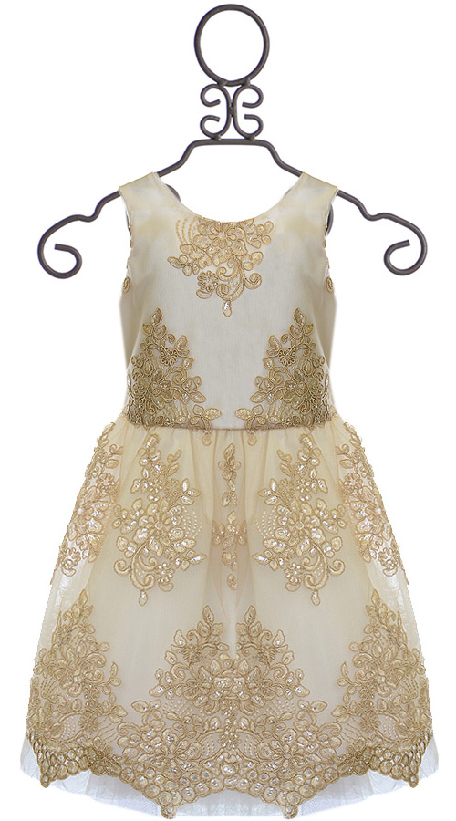 Le Pink Bottega Dress For Girls With Lace In Gold Size 6x