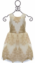 Le Pink Bottega Dress for Girls with Lace in Gold (Size 6X)