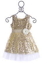 Le Pink Fancy Girls Dress Gold Holiday (4,6,6X,8,12)
