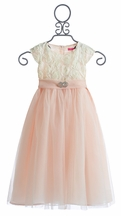 Le Pink Fancy Girls Dress in Ivory Rose (18Mos,5,7,8,10)