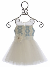 Le Pink Flower Girls Dress Crochet Daisy (Size 8)