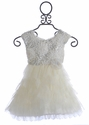 Le Pink Flower Girls Dress Ivory Silver Bells