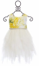 Le Pink Girls Dress In Yellow and Ivory