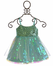 Le Pink Girls Party Dress Ariel Blue (Size 7)