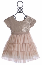 Le Pink Girls Party Dress Pink Glitter (Size 12)