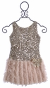 Le Pink Girls Sequin Party Dress Rose