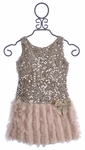 Le Pink Girls Sequin Party Dress Rose (5, 6, 6X)