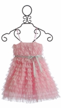 Le Pink Girls Tulle Dress in Pink (6X & 10)