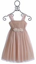Le Pink Holiday Dress for Girls in Glitter Tulle (4,6X,12)