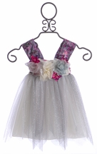 Le Pink Holiday Dress for Little Girls with Silver Tulle (12Mos,18Mos,3T)