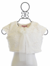 Le Pink Ivory Faux Fur Shrug Cap Sleeves