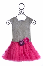 Le Pink Little Girls Holiday Dress Silver and Pink (12Mos,18Mos,24Mos,2T)