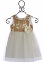 Le Pink Little Girls TuTu Dress Gold Leaves