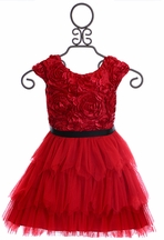 Le Pink Presley Dress for Girls Red Roses