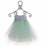 Le Pink Tulle Dress for Girls in Blue Floral