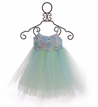 Le Pink Tulle Dress for Girls in Blue Floral (6,6X,8)