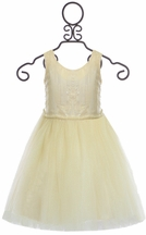 Le Pink Off White Castle Sequin Dress for Girls