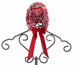 Le' Za Me Baby Girl Bonnet Hat Red Damask