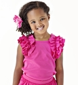 Lemon Love Lime Fuchsia Girls Ruffled Top