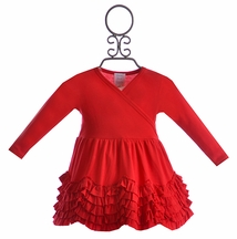 Lemon Loves Lime Baby Girl Dress Ruffled Red (Size 12-18Mos)