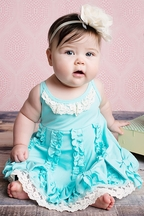 Lemon Loves Lime Blue Dancing Bows Infant Dress