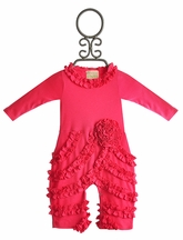 Lemon Loves Lime Fuchsia Ruffle Romper for Girls