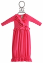 Lemon Loves Lime Fuchsia Ruffled Infant Gown (Size 0-3 Mos)