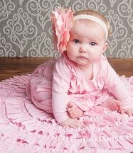 Lemon Loves Lime Jenna Baby Gown in Light Pink