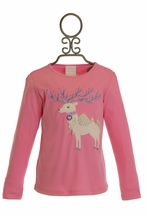 Lemon Loves Lime Little Girls White Reindeer Top