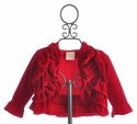 Lemon Loves Lime Red Holiday Shrug for Girls