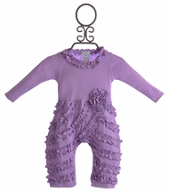 Lemon Loves Lime Ruffle Baby Romper Lilac Peony (Size 0-3Mos)
