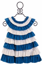 Lemon Loves Lime Ruffle Dress for Infant in Blue (3-6Mos,6-12Mos,12-18Mos)